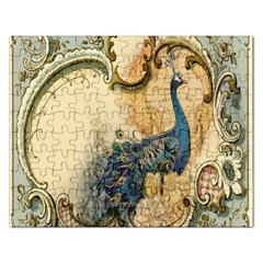 Victorian Swirls Peacock Floral Paris Decor Jigsaw Puzzle (rectangle) by chicelegantboutique