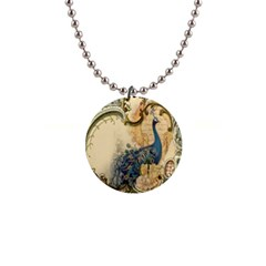 Victorian Swirls Peacock Floral Paris Decor Button Necklace by chicelegantboutique