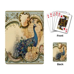 Victorian Swirls Peacock Floral Paris Decor Playing Cards Single Design by chicelegantboutique