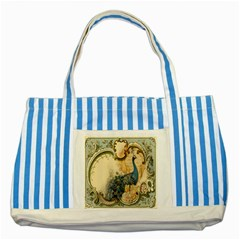 Victorian Swirls Peacock Floral Paris Decor Blue Striped Tote Bag by chicelegantboutique