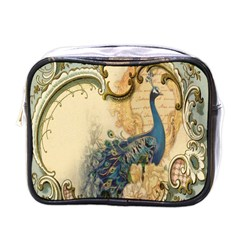 Victorian Swirls Peacock Floral Paris Decor Mini Travel Toiletry Bag (one Side) by chicelegantboutique