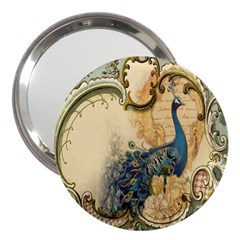 Victorian Swirls Peacock Floral Paris Decor 3  Handbag Mirror by chicelegantboutique