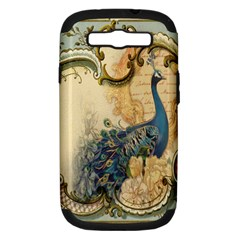 Victorian Swirls Peacock Floral Paris Decor Samsung Galaxy S III Hardshell Case (PC+Silicone) by chicelegantboutique
