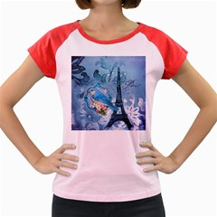 Girly Blue Bird Vintage Damask Floral Paris Eiffel Tower Women s Cap Sleeve T-Shirt (Colored) by chicelegantboutique