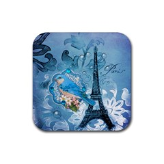 Girly Blue Bird Vintage Damask Floral Paris Eiffel Tower Drink Coaster (square) by chicelegantboutique