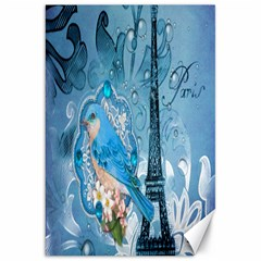 Girly Blue Bird Vintage Damask Floral Paris Eiffel Tower Canvas 20  X 30  (unframed) by chicelegantboutique