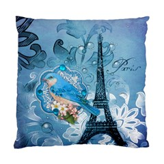 Girly Blue Bird Vintage Damask Floral Paris Eiffel Tower Cushion Case (single Sided)  by chicelegantboutique