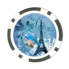 Girly Blue Bird Vintage Damask Floral Paris Eiffel Tower Poker Chip 10 Pack by chicelegantboutique