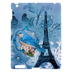 Girly Blue Bird Vintage Damask Floral Paris Eiffel Tower Apple Ipad 3/4 Hardshell Case by chicelegantboutique