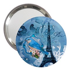 Girly Blue Bird Vintage Damask Floral Paris Eiffel Tower 3  Handbag Mirror by chicelegantboutique