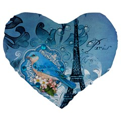 Girly Blue Bird Vintage Damask Floral Paris Eiffel Tower 19  Premium Heart Shape Cushion by chicelegantboutique