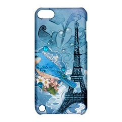 Girly Blue Bird Vintage Damask Floral Paris Eiffel Tower Apple iPod Touch 5 Hardshell Case with Stand by chicelegantboutique