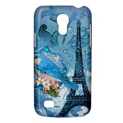 Girly Blue Bird Vintage Damask Floral Paris Eiffel Tower Samsung Galaxy S4 Mini Hardshell Case  by chicelegantboutique