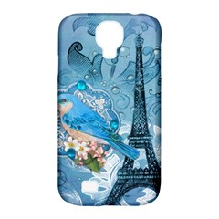 Girly Blue Bird Vintage Damask Floral Paris Eiffel Tower Samsung Galaxy S4 Classic Hardshell Case (pc+silicone) by chicelegantboutique