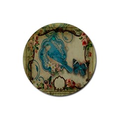 Victorian Girly Blue Bird Vintage Damask Floral Paris Eiffel Tower Drink Coaster (round) by chicelegantboutique