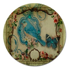 Victorian Girly Blue Bird Vintage Damask Floral Paris Eiffel Tower Magnet 5  (round) by chicelegantboutique