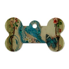 Victorian Girly Blue Bird Vintage Damask Floral Paris Eiffel Tower Dog Tag Bone (one Sided) by chicelegantboutique