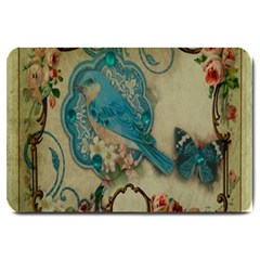 Victorian Girly Blue Bird Vintage Damask Floral Paris Eiffel Tower Large Door Mat by chicelegantboutique