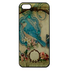 Victorian Girly Blue Bird Vintage Damask Floral Paris Eiffel Tower Apple Iphone 5 Seamless Case (black) by chicelegantboutique