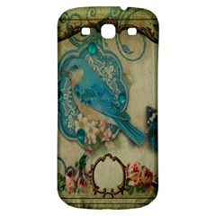 Victorian Girly Blue Bird Vintage Damask Floral Paris Eiffel Tower Samsung Galaxy S3 S Iii Classic Hardshell Back Case by chicelegantboutique