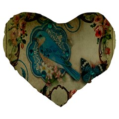 Victorian Girly Blue Bird Vintage Damask Floral Paris Eiffel Tower 19  Premium Heart Shape Cushion by chicelegantboutique