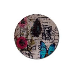 Floral Scripts Blue Butterfly Eiffel Tower Vintage Paris Fashion Drink Coaster (round) by chicelegantboutique