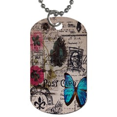 Floral Scripts Blue Butterfly Eiffel Tower Vintage Paris Fashion Dog Tag (two Sided)  by chicelegantboutique