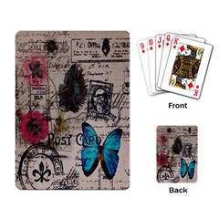 Floral Scripts Blue Butterfly Eiffel Tower Vintage Paris Fashion Playing Cards Single Design by chicelegantboutique