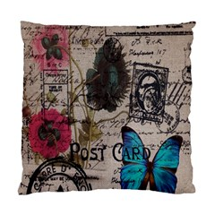 Floral Scripts Blue Butterfly Eiffel Tower Vintage Paris Fashion Cushion Case (two Sided)  by chicelegantboutique
