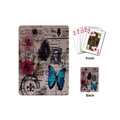 Floral Scripts Blue Butterfly Eiffel Tower Vintage Paris Fashion Playing Cards (mini) by chicelegantboutique