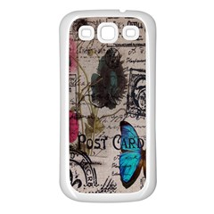 Floral Scripts Blue Butterfly Eiffel Tower Vintage Paris Fashion Samsung Galaxy S3 Back Case (white) by chicelegantboutique