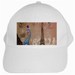 Modern Butterfly  Floral Paris Eiffel Tower Decor White Baseball Cap by chicelegantboutique