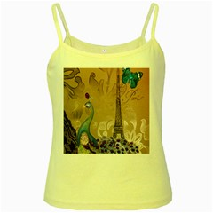 Modern Butterfly  Floral Paris Eiffel Tower Decor Yellow Spaghetti Tank by chicelegantboutique