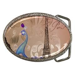 Modern Butterfly  Floral Paris Eiffel Tower Decor Belt Buckle (oval) by chicelegantboutique
