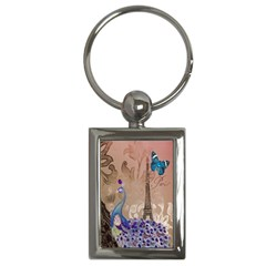 Modern Butterfly  Floral Paris Eiffel Tower Decor Key Chain (rectangle) by chicelegantboutique