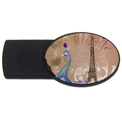 Modern Butterfly  Floral Paris Eiffel Tower Decor 4gb Usb Flash Drive (oval) by chicelegantboutique