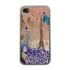Modern Butterfly  Floral Paris Eiffel Tower Decor Apple Iphone 4 Case (clear) by chicelegantboutique