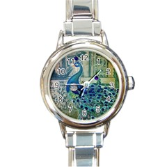French Scripts Vintage Peacock Floral Paris Decor Round Italian Charm Watch by chicelegantboutique