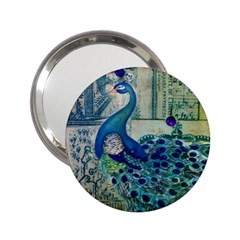 French Scripts Vintage Peacock Floral Paris Decor Handbag Mirror (2 25 ) by chicelegantboutique