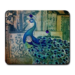 French Scripts Vintage Peacock Floral Paris Decor Large Mouse Pad (rectangle) by chicelegantboutique