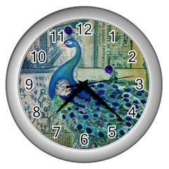 French Scripts Vintage Peacock Floral Paris Decor Wall Clock (silver) by chicelegantboutique