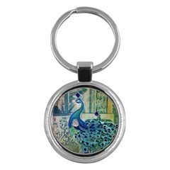 French Scripts Vintage Peacock Floral Paris Decor Key Chain (round) by chicelegantboutique