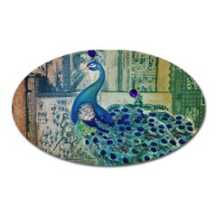 French Scripts Vintage Peacock Floral Paris Decor Magnet (oval) by chicelegantboutique