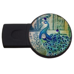 French Scripts Vintage Peacock Floral Paris Decor 4gb Usb Flash Drive (round) by chicelegantboutique