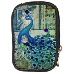 French Scripts Vintage Peacock Floral Paris Decor Compact Camera Leather Case by chicelegantboutique