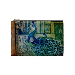 French Scripts Vintage Peacock Floral Paris Decor Cosmetic Bag (medium) by chicelegantboutique