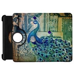 French Scripts Vintage Peacock Floral Paris Decor Kindle Fire Hd 7  Flip 360 Case by chicelegantboutique