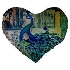 French Scripts Vintage Peacock Floral Paris Decor 19  Premium Heart Shape Cushion by chicelegantboutique