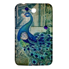 French Scripts Vintage Peacock Floral Paris Decor Samsung Galaxy Tab 3 (7 ) P3200 Hardshell Case  by chicelegantboutique