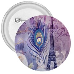 Peacock Feather White Rose Paris Eiffel Tower 3  Button by chicelegantboutique